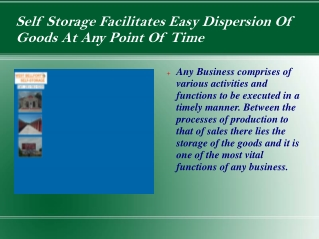 Self Storage Facilitates Easy Dispersion Of Goods At Any Poi