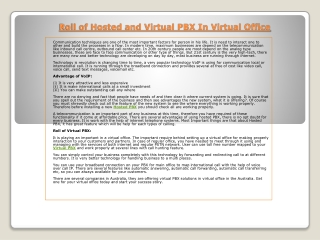 Roll of Hosted and Virtual PBX In Virtual Office