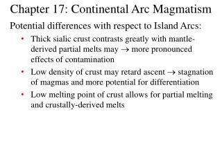 Chapter 17: Continental Arc Magmatism
