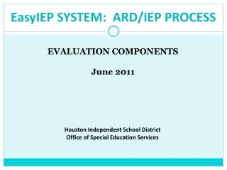 FULL AND INDIVIDUAL  EVALUATION Report:  SLD