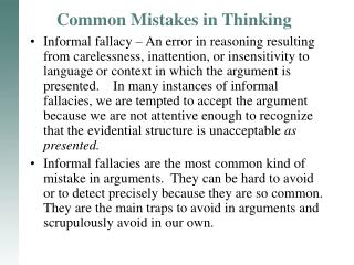 Common Mistakes in Thinking
