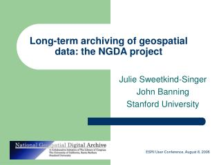 Long-term archiving of geospatial data: the NGDA project