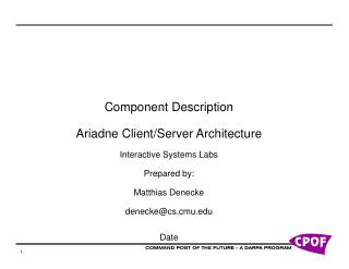 Component Description Ariadne Client