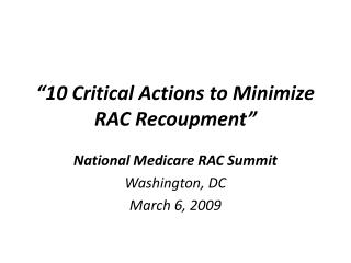 10 Critical Actions to Minimize RAC Recoupment