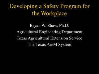 developing a safety program for the workplace