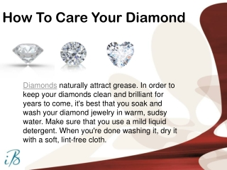 How To Care our Diamond