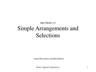 SECTION 5.2 Simple Arrangements and Selections