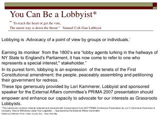 You Can Be a Lobbyist