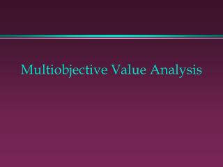 multiobjective value analysis