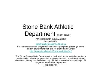 Stone Bank Athletic Department front cover