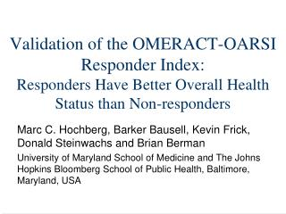 Validation of the OMERACT-OARSI Responder Index: Responders Have Better Overall Health Status than Non-responders