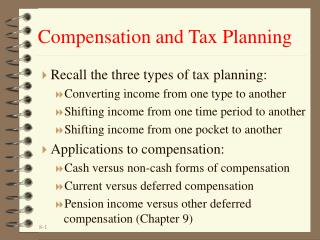 Compensation and Tax Planning