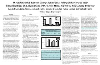 The Relationship between Young Adults  Risk Taking Behavior and their  Understandings and Evaluations of the Socio-Moral