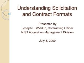 Understanding Solicitation and Contract Formats
