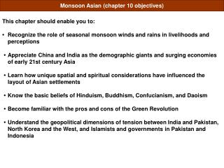 Monsoon Asian chapter 10 objectives
