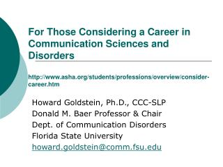 For Those Considering a Career in Communication Sciences and Disorders  asha