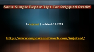 Some Simple Repair Tips For Crippled Credit
