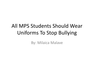 All students should be required to wear uniforms