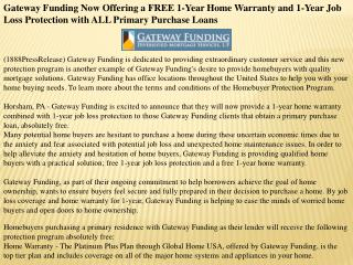 gateway funding now offering a free 1-year home warranty and