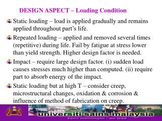 Design Aspect-Loading conditions