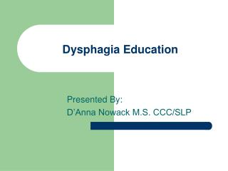 Dysphagia Education