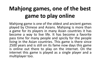 Mahjong games, one of the best game to play online