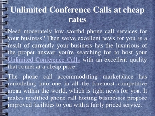 Unlimited Conference Calls at cheap rates