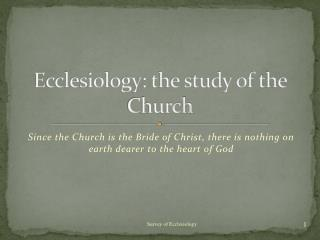Ecclesiology: the study of the Church