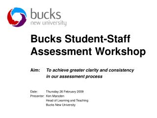 bucks student-staff assessment workshop