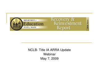 NCLB- Title IA ARRA Update Webinar May 7, 2009