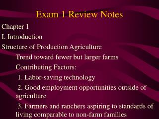 Exam 1 Review Notes