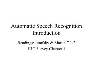 Automatic Speech Recognition Introduction