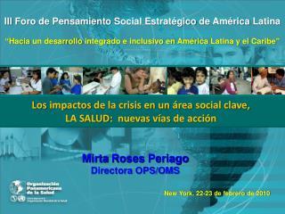 Temas   El impacto de la Crisis: LA SALUD  Potencial de Desarrollo Social: BRECHAS  Hacia una pol tica social integrada: