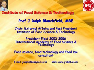 Institute of Food Science  Technology