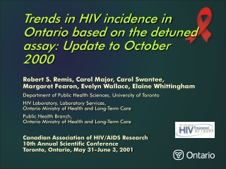 Trends in HIV incidence in Ontario based on the detuned assay ...