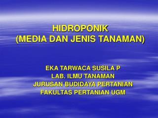 HIDROPONIK MEDIA DAN JENIS TANAMAN
