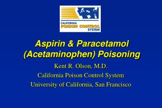 Aspirin  Paracetamol Acetaminophen Poisoning