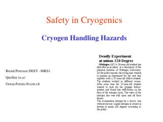 Safety in Cryogenics