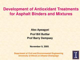 Development of Antioxidant Treatments for Asphalt Binders and Mixtures