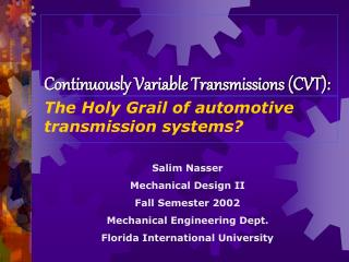 Continuously Variable Transmissions CVT: