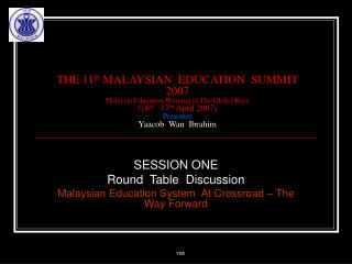 THE 11th MALAYSIAN  EDUCATION  SUMMIT 2007 Malaysia Education Winning in The Global Race 16th  17th April 2007 Presenter