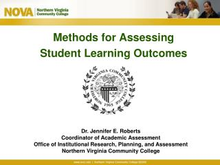 Methods for Assessing Student Learning Outcomes