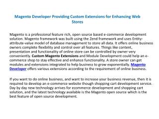 Magento Developer Providing Custom Extensions