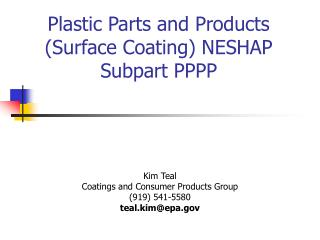Plastic Parts and Products Surface Coating NESHAP Subpart PPPP