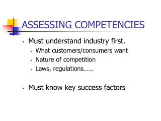 ASSESSING COMPETENCIES