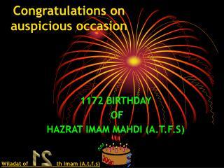 Congratulations on auspicious occasion