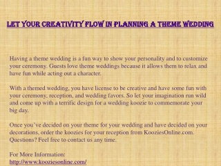 Let Your Creativity Flow in Planning a Theme Wedding