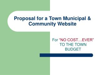 Proposal for a Town Municipal  Community Website