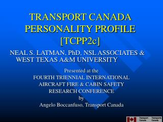 TRANSPORT CANADA PERSONALITY PROFILE [TCPP2c]