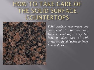 How to Take Care of the Solid Surface Countertops